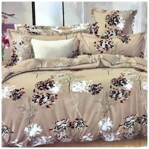 Floral Beige Duvet Set with bedsheet And Pillowcases