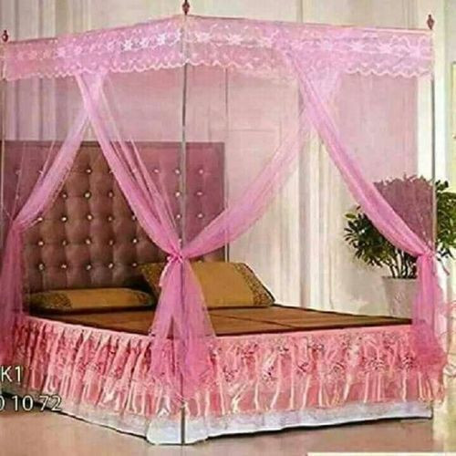 Pink Mosquito Net With Metallic Stand