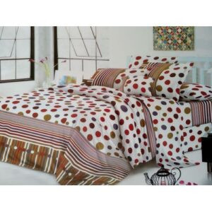 Polcadot Cotton Bedding Set With1 Duvet and Bed sheet And 2 pillow cases