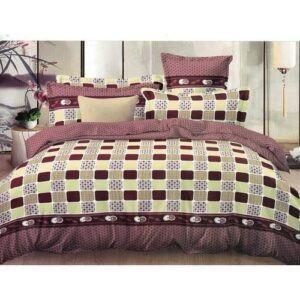 Checked Brown Duvet Set - 1 Duvet, 1 Bedsheet & 2 Pillow Cases