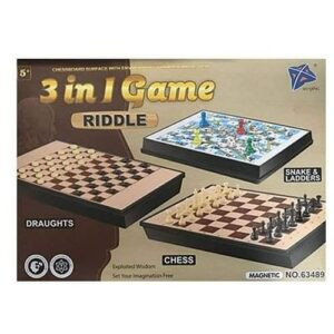 3 in 1 Chess, Draughts/Checkers, Snakes & Ladders Game