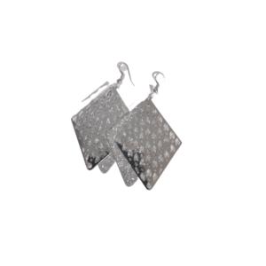 Diamond Shape Silver Earrings