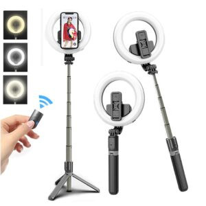 Ring Light Selfie Stick With Tripod Stand and Bluetooth Control